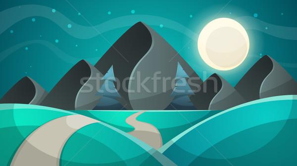 Cartoon ночь пейзаж ель луна иллюстрация Сток-фото © rwgusev