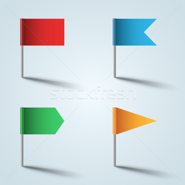 Pin vektör bayrak renk ikon gri Stok fotoğraf © rwgusev