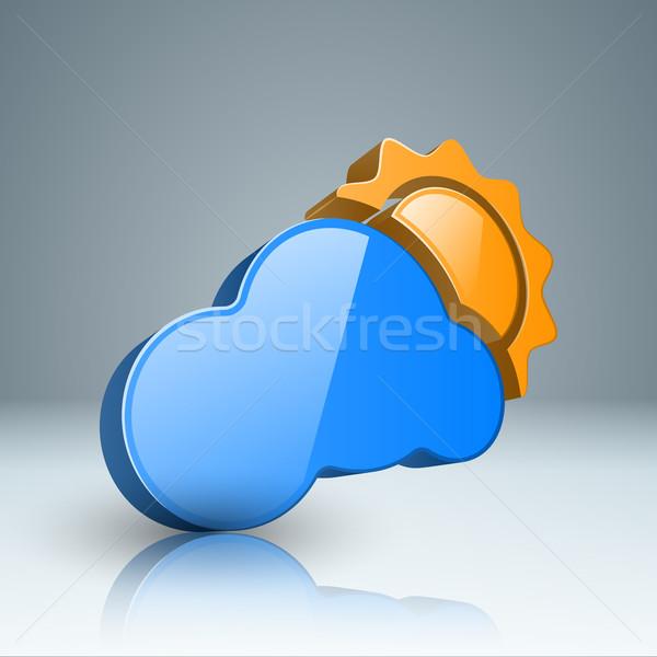 Infografika nap felhő eső ikon 3D Stock fotó © rwgusev