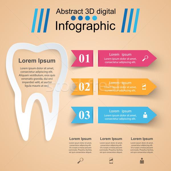Absztrakt 3D digitális illusztráció infografika fog ikon Stock fotó © rwgusev