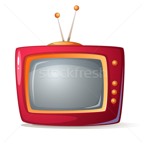 Cartoon red tv. Shadow and glare. Stock photo © rwgusev