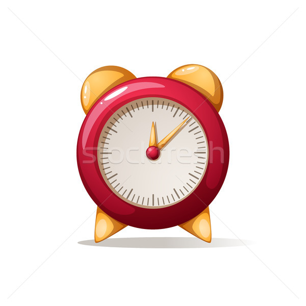 cartoon alarm red clock. Shadow and reflect. Stock photo © rwgusev