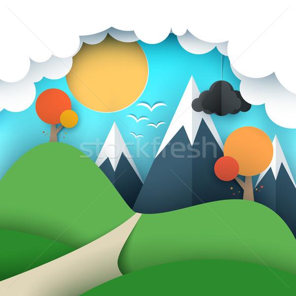 Foto stock: Papel · viajar · ilustração · sol · nuvem · colina