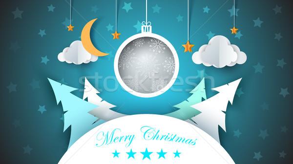 Winter cartoon paper landscape. Fir, moon, cloud, star, snow. Merry christmas. Happy new year. Stock photo © rwgusev