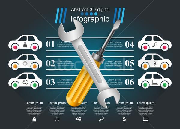Reparar carro negócio infográficos papel Foto stock © rwgusev