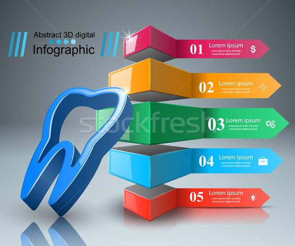 Iş infographics diş ikon origami stil Stok fotoğraf © rwgusev