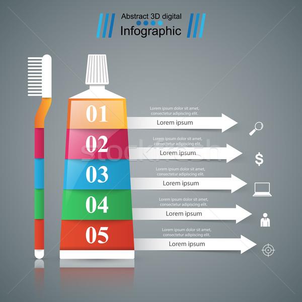Iş infographics diş macunu fırçalamak ikon origami Stok fotoğraf © rwgusev