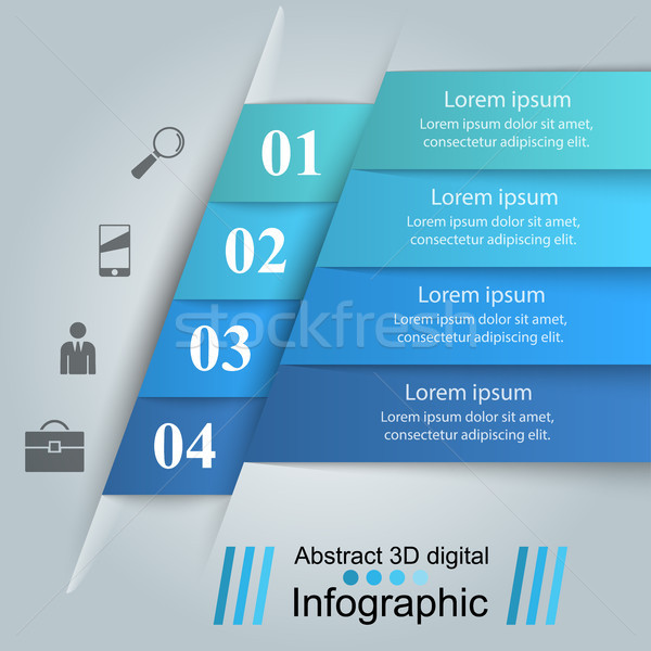 3D infografía plantilla de diseño comercialización iconos negocios Foto stock © rwgusev
