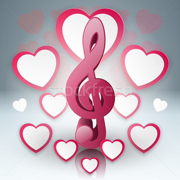 Music hearts Valentines day. Treble clef icon. Stock photo © rwgusev