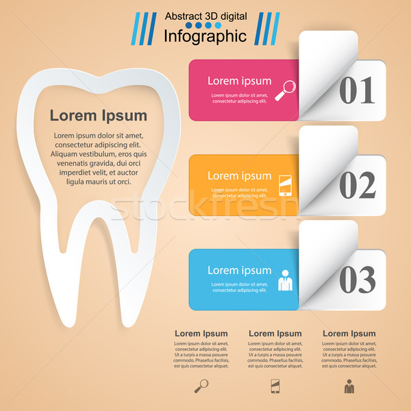 Negócio infográficos dente ícone origami estilo Foto stock © rwgusev