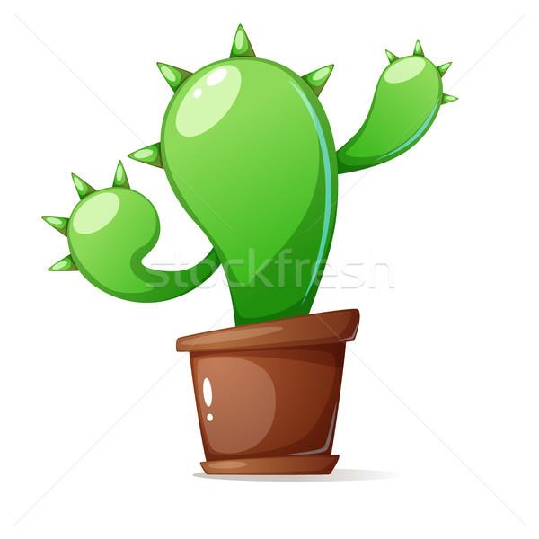 Olla verde cactus Cartoon ilustración vector Foto stock © rwgusev
