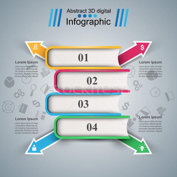 Papír könyv üzlet infografika vektor eps Stock fotó © rwgusev