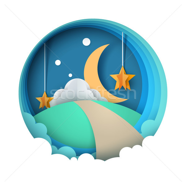 Stock photo: Cartoon paper night landscape. Moon, star, cloud, road.