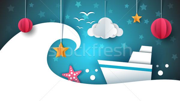 Papel origami ilustração navio nuvem estrela Foto stock © rwgusev
