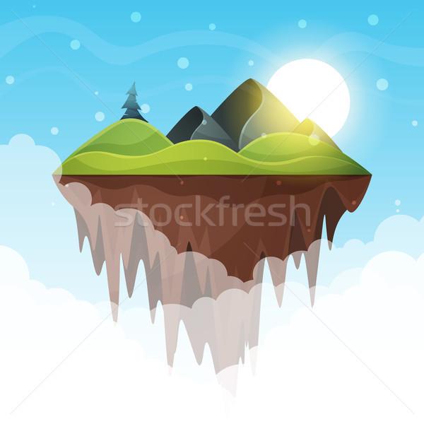 Isola cartoon montagna sole mare vettore Foto d'archivio © rwgusev