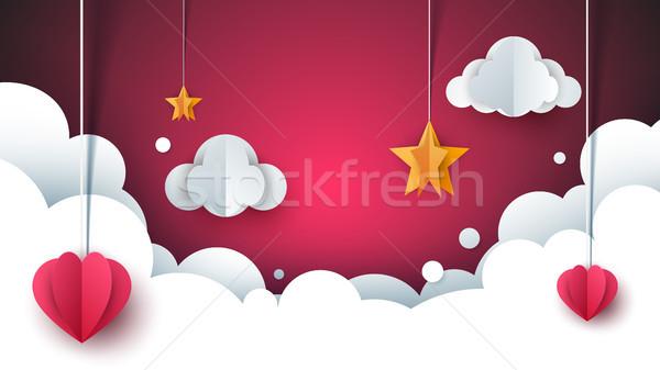 Cartoon love landscape. Cloud, heart, star. Stock photo © rwgusev