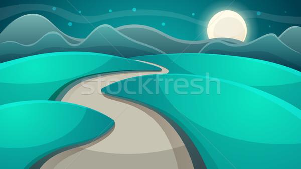 Zdjęcia stock: Cartoon · noc · krajobraz · księżyc · Chmura · wektora