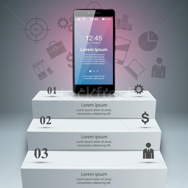 Сток-фото: 3D · смартфон · икона · дизайн · шаблона · маркетинга