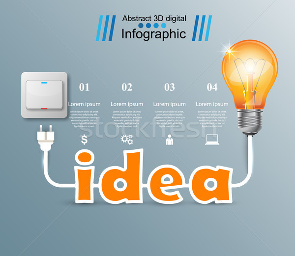 Bulb, Light, switch, on, off, idea infographic Stock photo © rwgusev