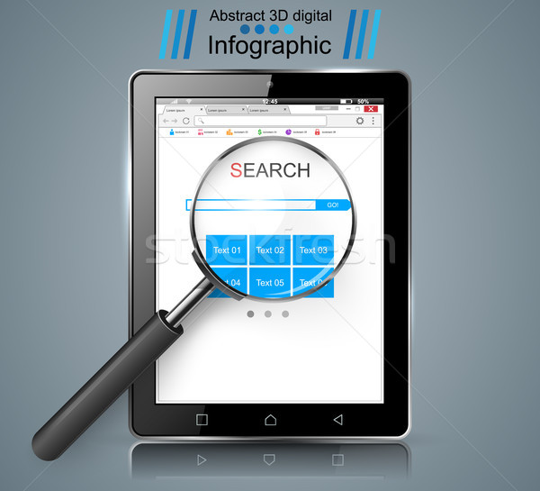Smart tablet, loupe, search infographic. Stock photo © rwgusev