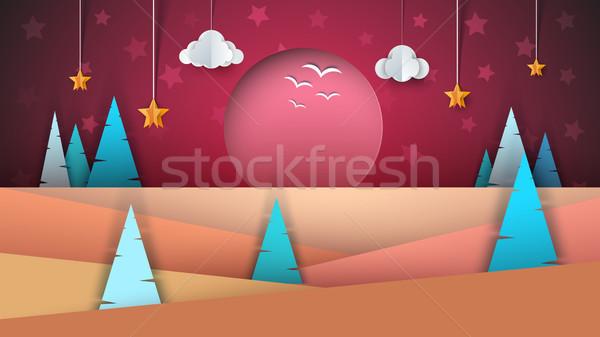 Karikatür kâğıt manzara güneş bulut Stok fotoğraf © rwgusev