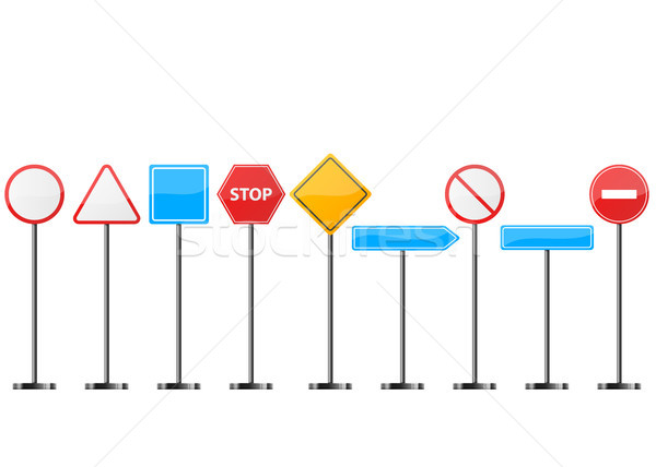 Road signt stand- set icon. Stock photo © rwgusev