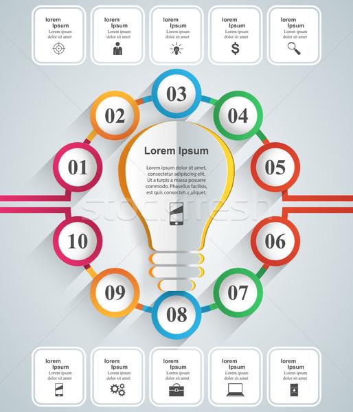 ビジネス インフォグラフィック 折り紙 スタイル 電球 インフォグラフィック ストックフォト © rwgusev