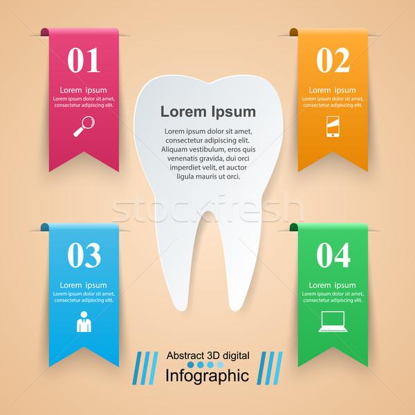 Abstrato 3D ilustração digital dente ícone Foto stock © rwgusev
