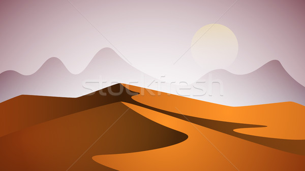 Desert landscape. Pyramid and sun. Stock photo © rwgusev
