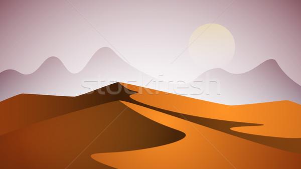 пустыне пейзаж пирамида солнце вектора прибыль на акцию Сток-фото © rwgusev
