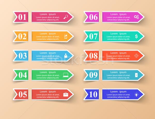 ビジネス インフォグラフィック 折り紙 スタイル リスト インフォグラフィック ストックフォト © rwgusev