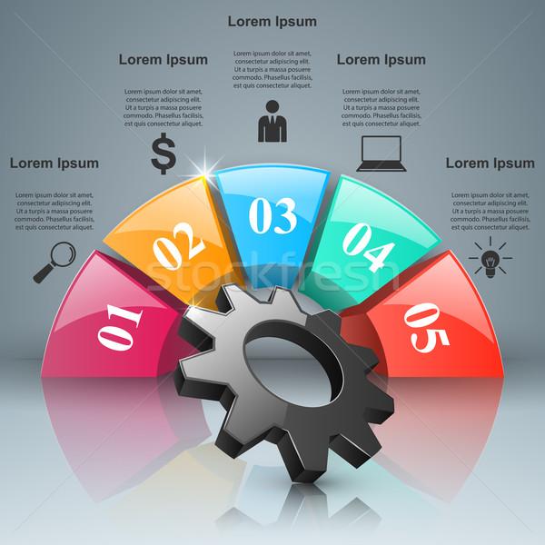 Fogaskerék viselet ikon üzlet infografika origami Stock fotó © rwgusev
