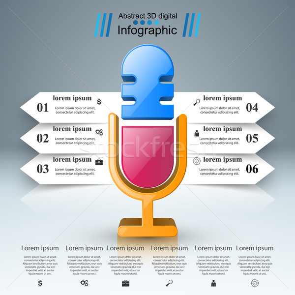 Business Infographics. Microphone icon. Stock photo © rwgusev