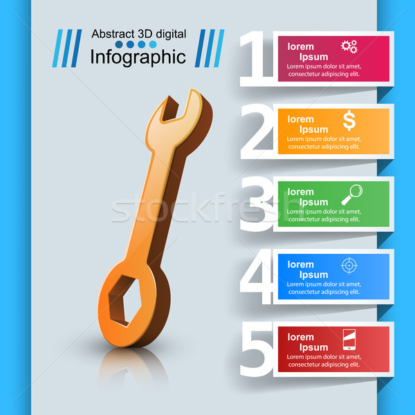 Wrench template bussines infographic Stock photo © rwgusev