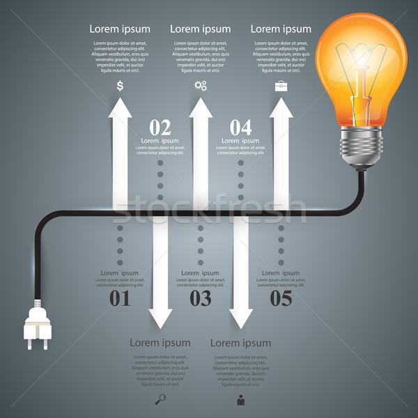 インフォグラフィック デザイン 電球 光 アイコン デザインテンプレート ストックフォト © rwgusev