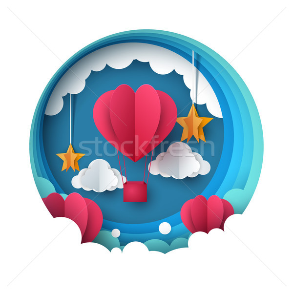 Love balloon illustration. Valentine s Day. Cloud, star, sky. Stock photo © rwgusev