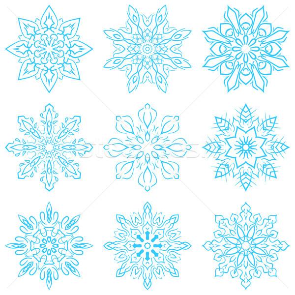 Ayarlamak dört mavi kar taneleri vektör eps Stok fotoğraf © rwgusev