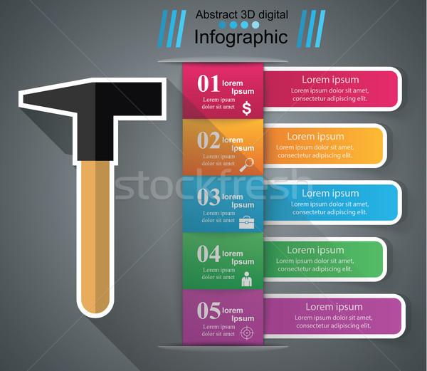 Kalapács infografika origami vektor stílus illusztráció Stock fotó © rwgusev
