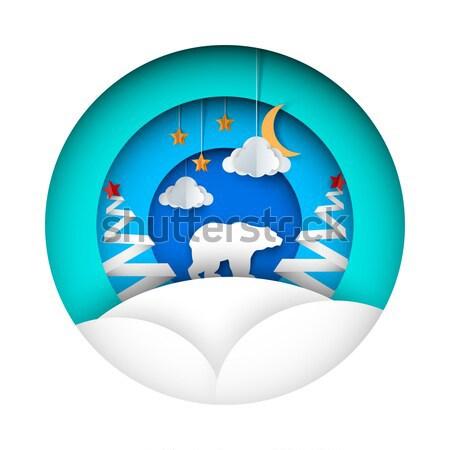 Lobo lua papel ilustração estrela nuvem Foto stock © rwgusev