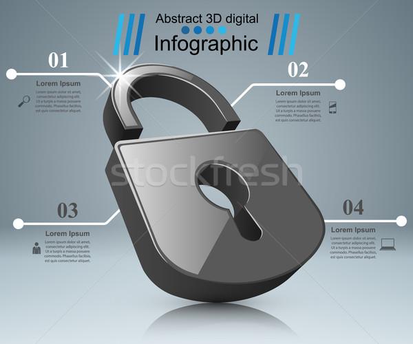 Infografía ilustración bloqueo icono negocios infografía Foto stock © rwgusev