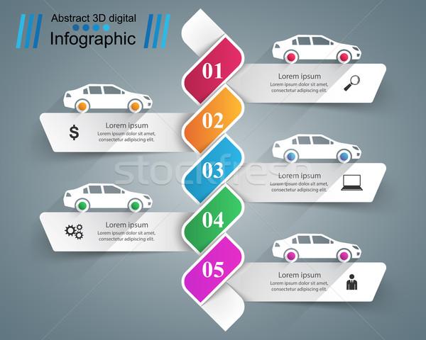 Estrada modelo de design marketing ícones carro Foto stock © rwgusev