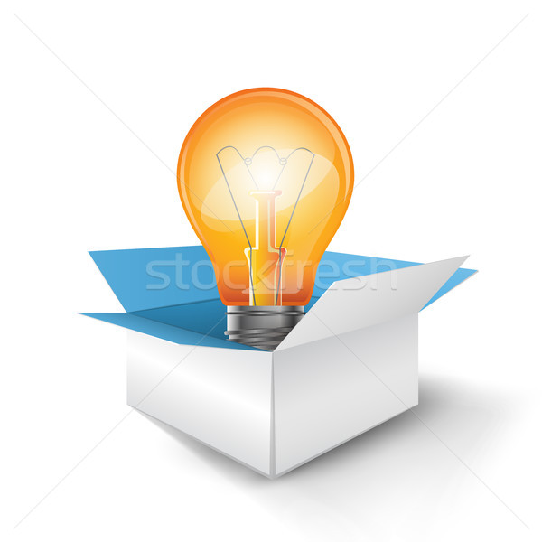 Infographic design. Bulb, box icon. Stock photo © rwgusev