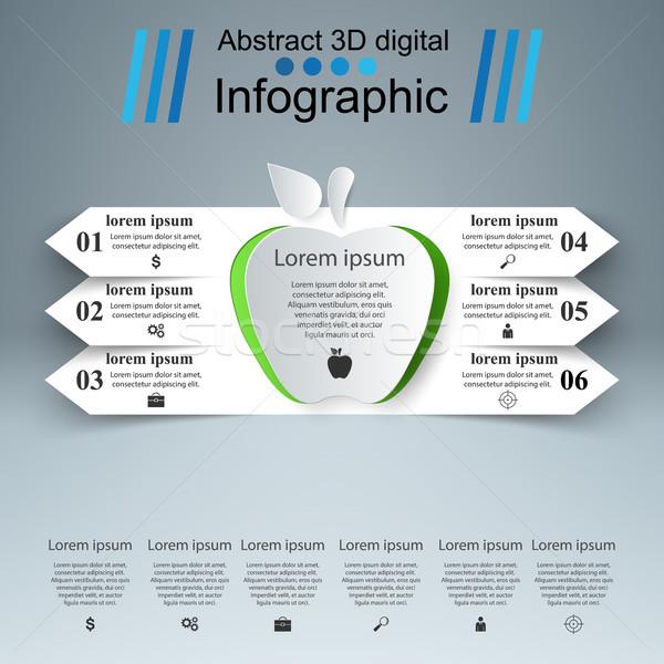Appel 3D digitale illustratie business infographics Stockfoto © rwgusev