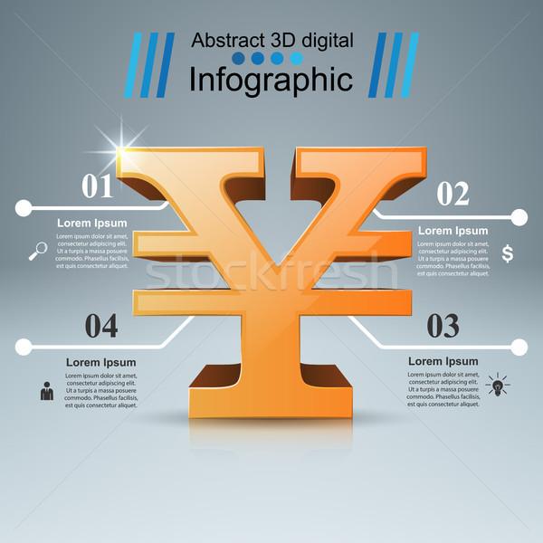 3D infografika yen pénz ikon design sablon Stock fotó © rwgusev
