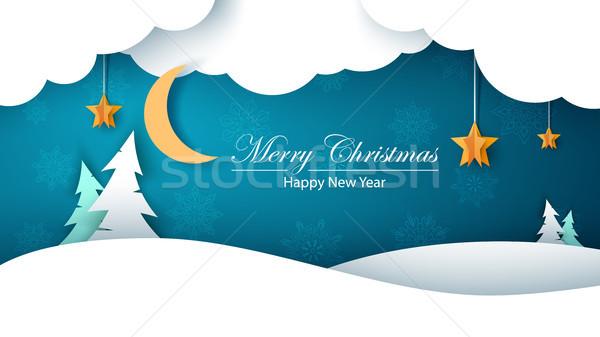 Winter cartoon paper landscape. Fir, moon, cloud, star, snow. Merry christmass. Happy new year. Stock photo © rwgusev