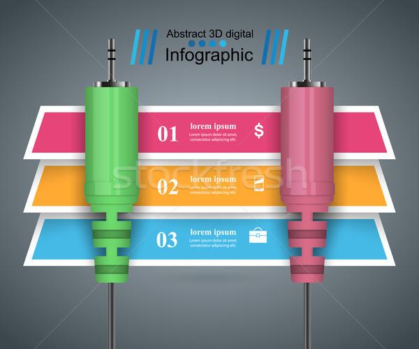 Zene oktatás infografika audio hozam absztrakt Stock fotó © rwgusev