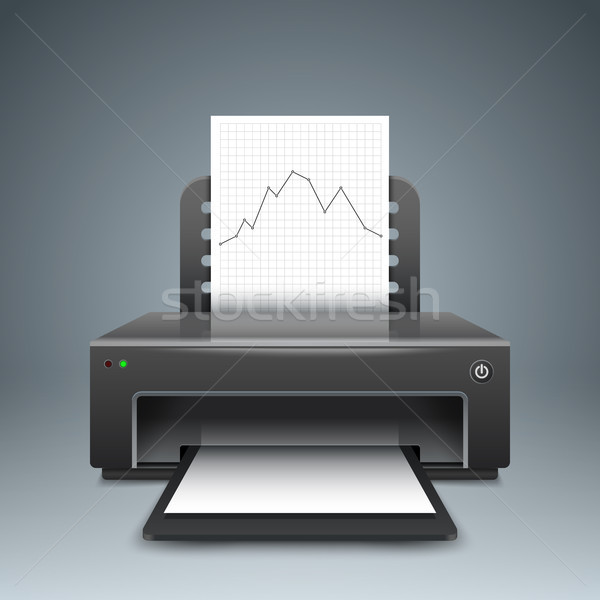 Realistic 3d printer. Business infographic. Paper A4, graph, cha Stock photo © rwgusev