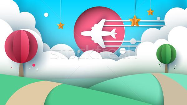 бумаги оригами стиль Воздушные путешествия вектора прибыль на акцию Сток-фото © rwgusev