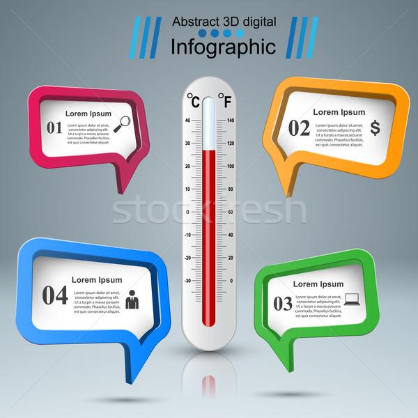 Hőmérő üzlet infografika egészség ikon illusztráció Stock fotó © rwgusev
