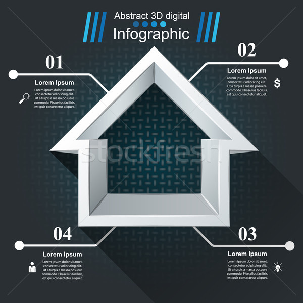 House abstract 3d icon. Business infographic. Stock photo © rwgusev